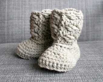 Crochet baby Pattern, Crochet baby booties pattern, cable baby booties 254 INSTANT DOWNLOAD
