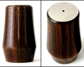 ROSEWOOD Salt Pepper MCM Danish Mod Denmark 2in Stainless Top Double Taper Scandinavian Dining Individual SP Original Stopper Vintage ExCond