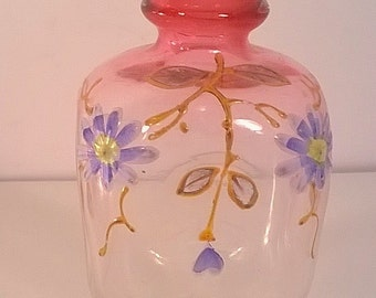 Vintage Hand Painted Miniature Glass Vase