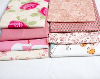 8 fat quarters with pink in common