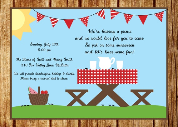 Summer Picnic Invitation Summer Party Invitation Custom Park