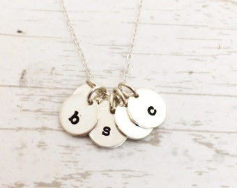 Initial necklace, personalized jewelry,  hand stamped sterling silver charms, Mothers Day gift for her, for mom, grandmother, kids initials