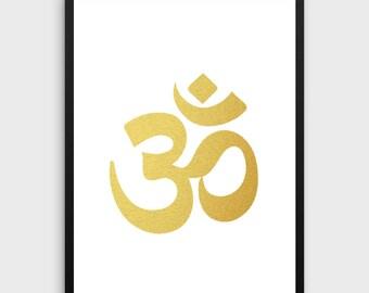 Gold Foil OM Print | Zen Print, Spiritual Print, Yoga Print, Boho Print, Spiritual Art, OM Art, Zen Art, Boho Art, Digital Download