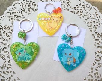 Pokemon portachiavi cuore in resina pikachu squirtle bulbasaur portachiave cristalli kawaii cute japan nerd games videogames nintendo