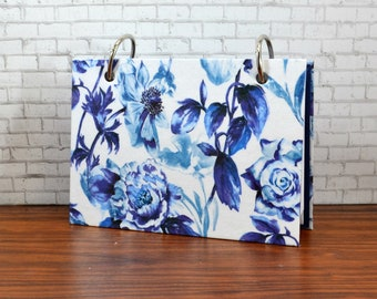 3 x 5 or 4 x 6 index card binder, blue and white floral, recipe binder, gardening journal for garden notes with index card dividers