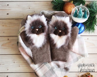 Catmittens/ Siamese Cat mittens handmade with fur elements of felting. Mittens with cats. mitten animals gloves warm winter mittens