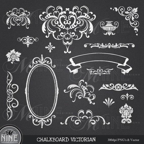 CHALK Clip Art: VICTORIAN Chalk Clipart Design Elements Chalk
