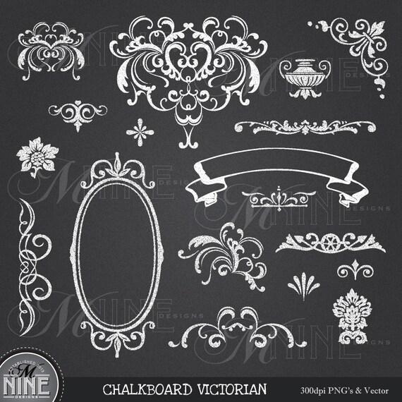 Home Design Ideas Blackboard: CHALK Clip Art: VICTORIAN Chalk Clipart Design Elements Chalk