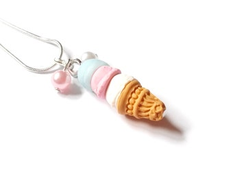 Ice Cream Necklace ( mini food jewelry ice cream pendant food necklace food pendant kawaii jewelry polymer clay miniature food pink )