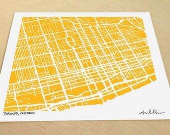 Toronto Map, Hand-Drawn Map Print of Toronto Ontario Canada