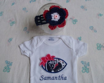 Personalized Houston Texans Baby Girl Onesie and Headband