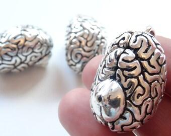 1 Anatomical Human Cerebrum Brain Charm Antique Silver - ANA03