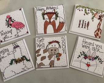 Hand drawn/colored  blank greeting cards - animals