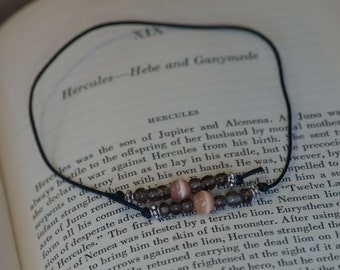 Smokey and peachy beaded bookmark, hardback size