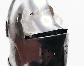 Medieval Head Protection Helmet, Medieval Buhurt Helmet, Full Contact Helmet, Knight's Helmet, HMB Helmet, IMCF Helmet,  Steel SCA Helmet