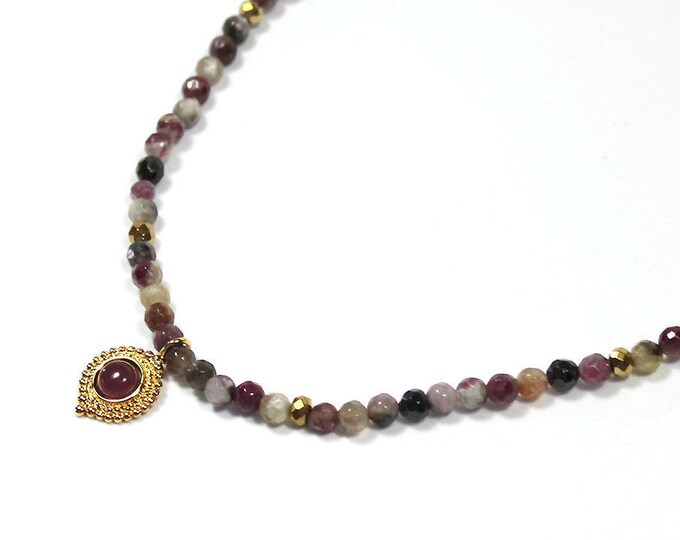 tourmaline with gold and Garnet pendant necklace