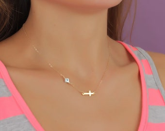 Evil eye necklace / Sideways cross necklace / Protection necklace / Evil eye jewelry / Gold necklace /Gold cross necklace | Styx-Vol2