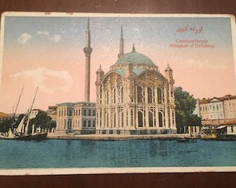 Turkey, Constantinople, Mosquee d' Ortakeuy mosque, vintage postcard