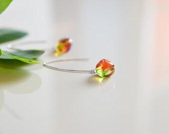 Long green earrings, minimal earrings, green earrings, modern earrings, dangle earrings, mom earrings, light earrings, red earrings