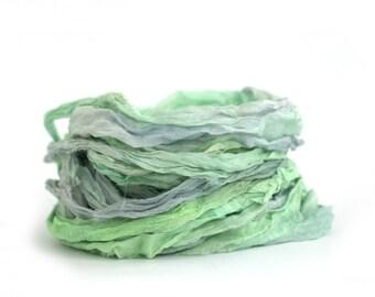 Recycled chiffon silk ribbon 10metres handdyed Mermaids Tail, limpet shell pale blue mint aqua, Perran Yarns textile arts mixed media