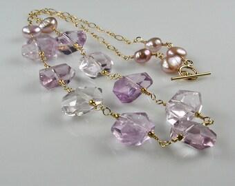 Pink Amethyst Station Necklace Rose de France