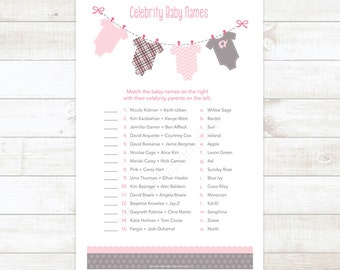 celebrity baby names baby girl shower matching game card printable clothes hanger baby shower digital games - INSTANT DOWNLOAD