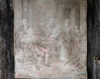Antique Large French Tapestry, French Wall Hanging, Soft Faded Muted, Made in France, Antique tapestry panel French Chateau, 50 x 39
