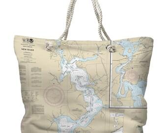 NC: Jacksonville, New River, NC Nautical Chart Tote Bag, Travel Themed Tote Bag, Map Tote Bag, Nautical Tote Bag, Beach Bag