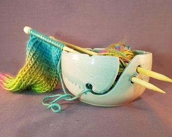 Yarn Bowl, Handmade Ceramic Yarn Bowl, Pottery Yarn Bowl, Blue Yarn Bowl, Knitting