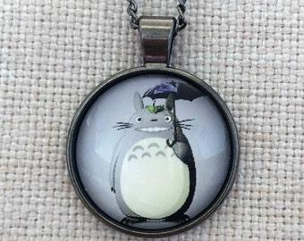 Totoro Ghibli Anime Handmade Vintage Boho Silver Glass Pendant Necklace. Jewellery Gift for Women Girlfriend Wife Fiancee Girl Birthday.