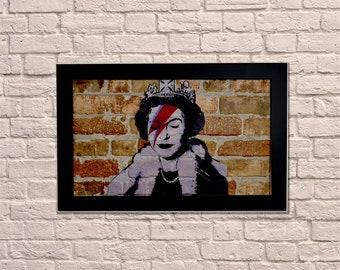 Industrial Queen Bowie Black Frame Brick Wall Graffiti Style Artwork. Graffiti Art. Steampunk & 3D Ceramic Brick Panels and Framed. UK MADE