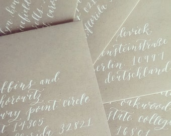 Tulip Style; Wedding Envelope Calligraphy; Hand Addressed