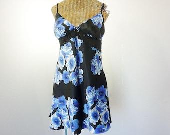 Chemise de nuit courte jonquille Diane Samandi des années 90 noir bleu moyen usé