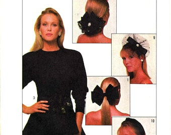 Simplicity 8359 Belt and Hair Accessories Ribbon Bow, Fabric Bow, Headband, Cocktail Hat, Cartwheel Bow Craft Sewing Pattern Vintage 1980's