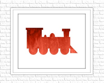 Train Print | 8x10 Printable Art Print | Boy Nursery Wall Art | Nursery Printable | Nursery Subway Art | Instant Download Printable, Red