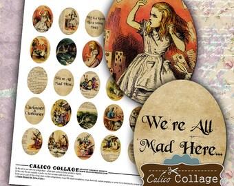 Alice in Wonderland Digital Collage Sheet 30x40mm Oval images for Pendants, Cameos, Cabchons, Bezel Settings, Decoupage Paper, Digital Sheet