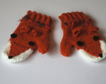 Cute, crocheted fox mittens! Can be made in any size!