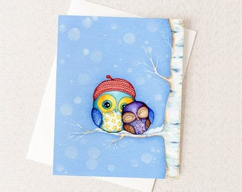 Owl Card - Little Owls in a Red Beret  - Blank Any Occasion Greeting Card