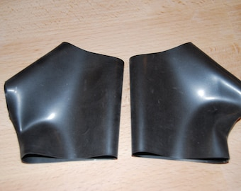 Black Latex Rubber Gauntlets / Gloves Size Small
