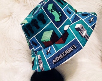 Minecraft Bucket Hat, Sun Hat, Sun Bonnet, Beach Hat