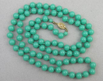 Vtg Long Jade Green Chinese Glass Beads Knotted Necklace, Vermeil / Silver Clasp