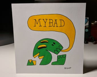 "Green/Yellow Skull Art ""My Bad"" Original Ink & Marker 5 x 5 inch"