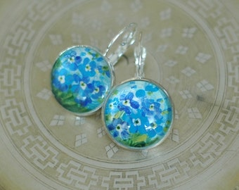 Hand painted earrings with forget me nots