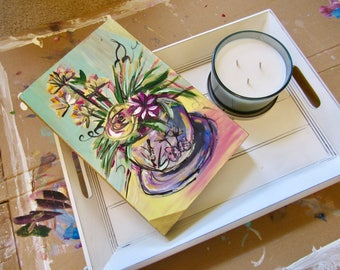 Home decor/ abstract plants in a tea cup/ wooden painting/ present/ picture wall