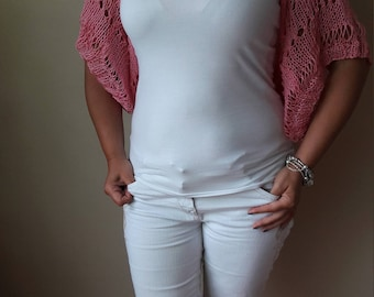 Knitted  Shrug Bolero Summer Shrug Lace Pink Cotton