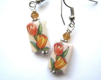 Tulips. Flowers of Spring. Petite Mother of Pearl Shell Earrings. Handmade.