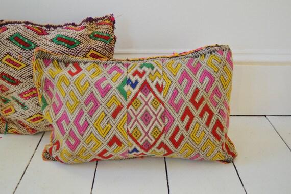 Vintage Moroccan Pink Pattern Kilim Berber Carpet Cushions-lumbar, vintage cushions, christmas gifts0, gifts, No.4, Ramadan, Eid