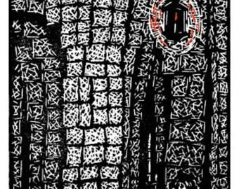 Rumpelstiltskin - Linoleum block print
