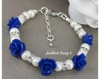Flower Girl Bracelet Flower Girl Jewelry Flower Girl Gift for Her Royal Blue Bracelet Pearl Bracelet Pearl Jewelry Royal Blue Jewelry