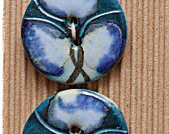 3 Gorgeous Fashion Buttons, Blue Floral Buttons, Green Floral Buttons, Incomparable Buttons, ButtonMad, Adult Buttons, Fashion Buttons